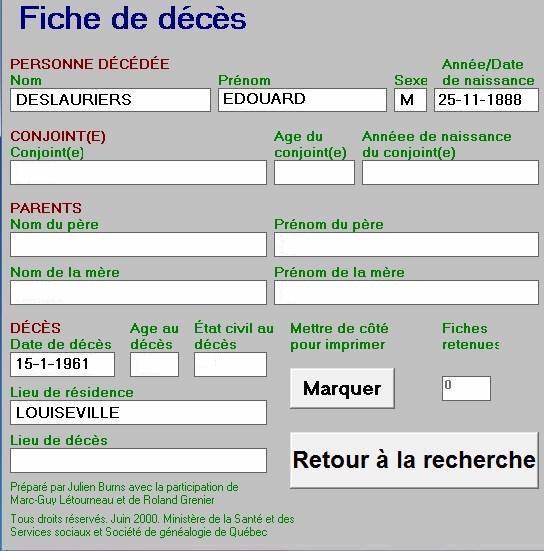 Décès d'Édouard Deslauriers S5848